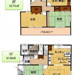 1階61.56㎡(18.62坪)、2階43.74㎡(13.23坪)(間取)